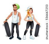 skaters boy and girl. vector... | Shutterstock .eps vector #536667253