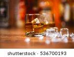 whiskey drinks on  wood in bar | Shutterstock . vector #536700193
