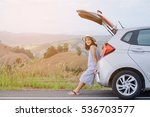 woman traveler sitting on... | Shutterstock . vector #536703577