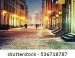 magic snowy streets night...   Shutterstock . vector #536718787