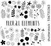 hand drawn floral elements.... | Shutterstock .eps vector #536731363