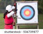 portrait of female athlete... | Shutterstock . vector #536739877