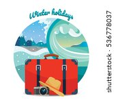 winter travel illustration.... | Shutterstock .eps vector #536778037
