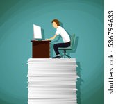 man sitting at the workplace on ... | Shutterstock .eps vector #536794633