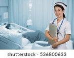 asian nurse holding notebook... | Shutterstock . vector #536800633