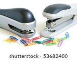Two Staplers And Multicolored...
