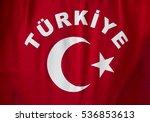 turkey inscription on a red... | Shutterstock . vector #536853613