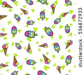 doodles cute seamless pattern.... | Shutterstock .eps vector #536872933