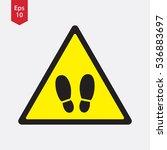 warning sign. footstep... | Shutterstock .eps vector #536883697