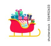santa sleigh  gifts isolated on ... | Shutterstock .eps vector #536902633