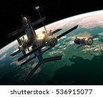 spacecraft is preparing to dock ... | Shutterstock . vector #536915077