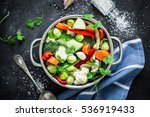 various fresh vegetables in a... | Shutterstock . vector #536919433
