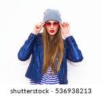 fashion model girl wearing... | Shutterstock . vector #536938213