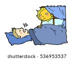 tired lazy man sleep in the bed ... | Shutterstock .eps vector #536953537