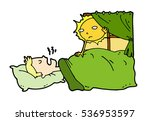 tired lazy man sleep in the bed ... | Shutterstock .eps vector #536953597