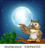 cartoon owl on a tree branch in ...