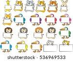 vector cartoon animals holding... | Shutterstock .eps vector #536969533