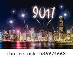 2017 firework over cityscape... | Shutterstock . vector #536974663