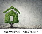 house shaped green tree as real ... | Shutterstock . vector #536978137