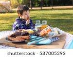 an asian cute young boy eating... | Shutterstock . vector #537005293