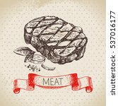 hand drawn sketch meat product. ... | Shutterstock .eps vector #537016177