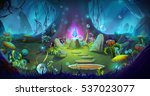 fantasy and magical forest.... | Shutterstock . vector #537023077