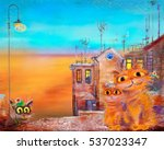 three cats in warm town | Shutterstock . vector #537023347