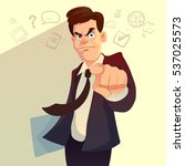 serious businessman pointing... | Shutterstock .eps vector #537025573