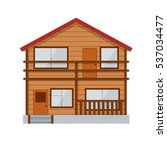 wooden country house. vector | Shutterstock .eps vector #537034477