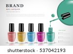 various colors of nail lacquers ...