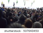 fans in the stadium supporting... | Shutterstock . vector #537043453