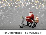 santa claus on scooter... | Shutterstock . vector #537053887