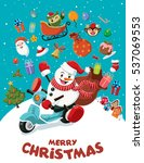 vintage christmas poster design ... | Shutterstock .eps vector #537069553