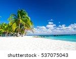 beach and beautiful tropical... | Shutterstock . vector #537075043