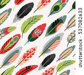 colorful feathers pattern over... | Shutterstock .eps vector #537082633