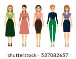 women dress code romantic style ... | Shutterstock .eps vector #537082657