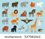 zoo animals flat colorful icons ... | Shutterstock .eps vector #537082663