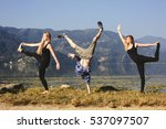 happy funny yoga people try to... | Shutterstock . vector #537097507