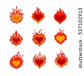 fired heart icons set | Shutterstock .eps vector #537102913