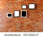 brick wall with photo frames... | Shutterstock . vector #537103117