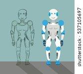businessman cartoon robot with... | Shutterstock .eps vector #537105697