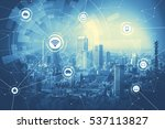 duo tone graphic of smart city... | Shutterstock . vector #537113827