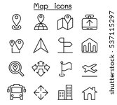 map icon in thin line style