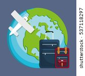 airplane globe luggage travel... | Shutterstock .eps vector #537118297