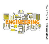 blueprint and engineer line... | Shutterstock .eps vector #537134743