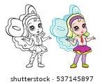 vector colorful elf fairy girl... | Shutterstock .eps vector #537145897