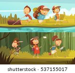 kids camping horizontal cartoon ...