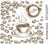 painted coffee beans  sketch ... | Shutterstock .eps vector #537163297