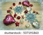 christmas background on wooden... | Shutterstock . vector #537191863