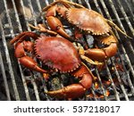 Crabs Shrimps On Charcoal Gril...